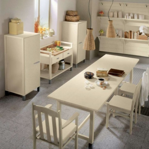 Country Kitchens With Italian Style White Bone Dining Set