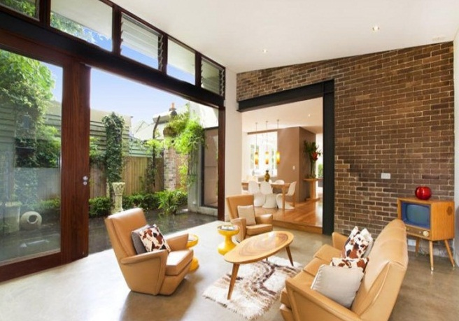 Courtyards Design Ideas Sliding Doors To Courtyard Glass Wall