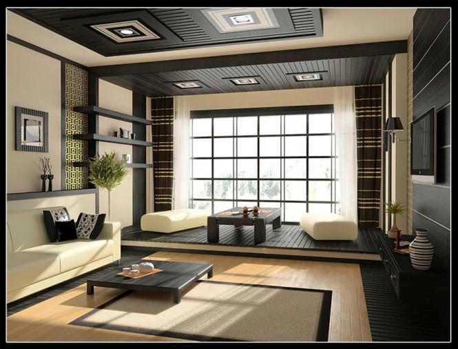 Cream Black Living Room Decor Japanesse Style Modern Living Rooms