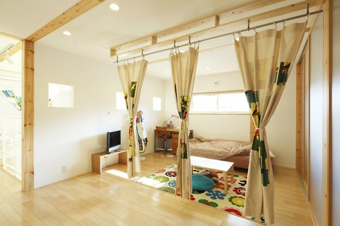 Creame Curtain Kids Loft Japanese Style Interior Design