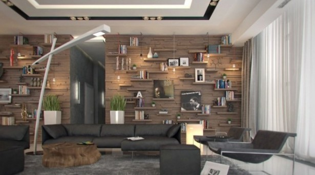 Creative Home Design Grey Living Room Unique Bookshleves