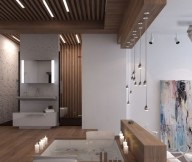 Creative Home Design Sunken Bathtub Wooden Floor Romantic Theme
