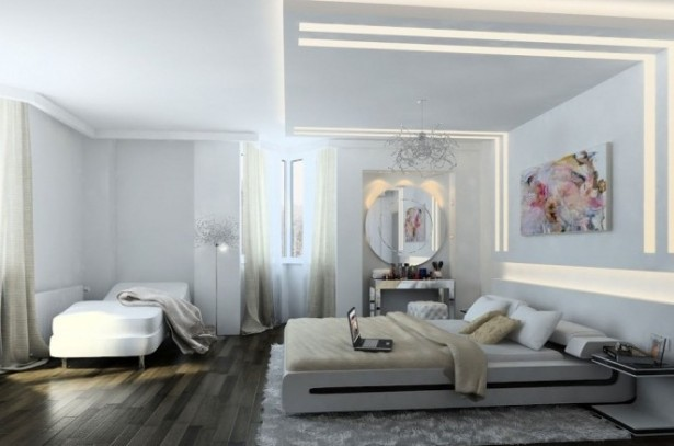 Creative Home Design White Bedroom Design Dark Wooden Floor