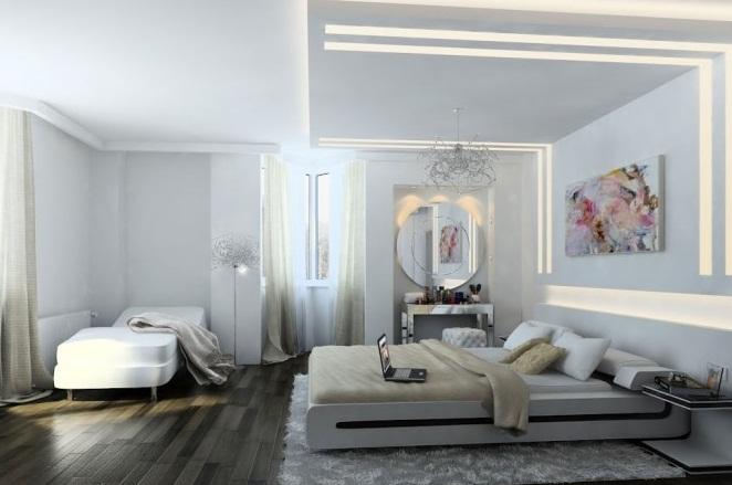 Creative Home Design White Bedroom Design Dark Wooden Floor