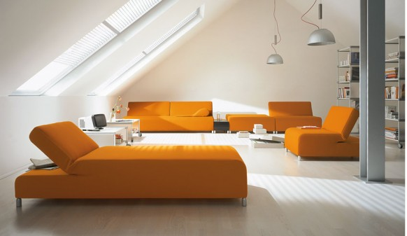 Creative Lamp Orange Sofa Colorful Living Room