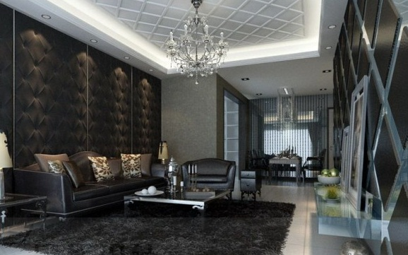 Dark Living Room Feature Walls Modern Living Rooms