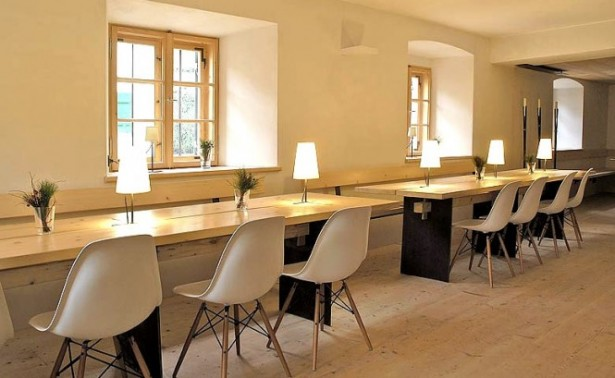 Dining Area The Berge Winter Retreat Wooden Long Table