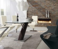 Edgy Dining Room Set Modern Modern Dining Rooms Stone Fireplace
