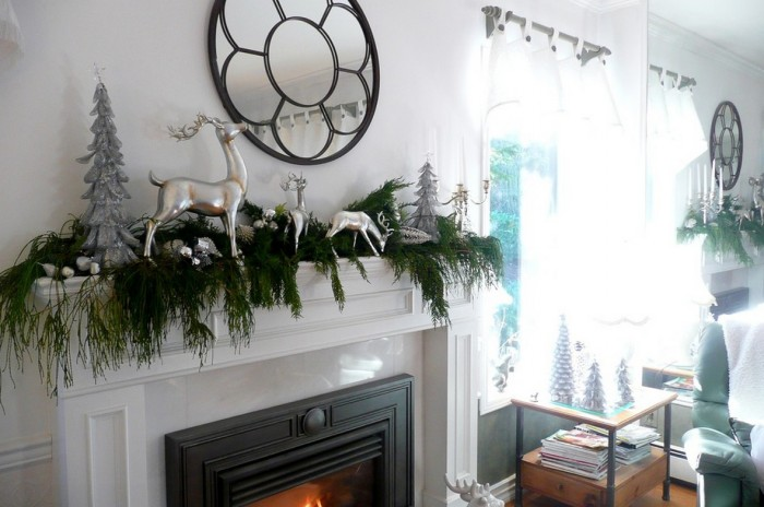 Evergreen Garland Mantel Decor Mantel Decor Inspiration Glass Window
