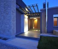 Exterior Modern Entry Blue Lighting Stunning Modern Family