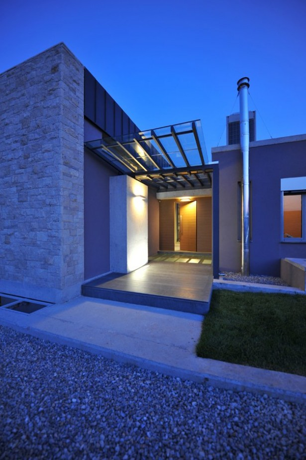 Exterior Modern Entry Blue Lighting Stunning Modern Family