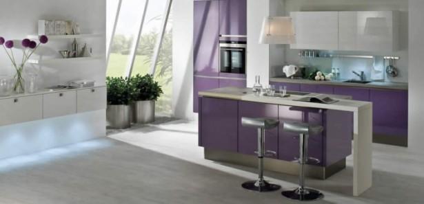 Feminine Kitchen Kitchen Island Designs Purple Cabinets