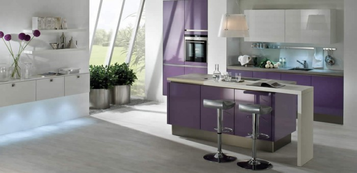 Feminine Kitchen Kitchen Island Designs Purple Cabinets