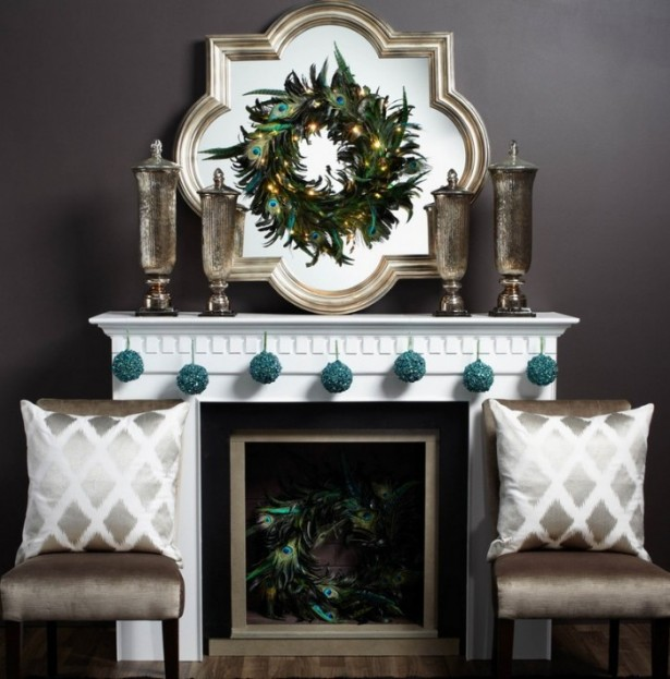 Formal Christmas Mantel Decor Mantel Decor Inspiration Grey Sofa