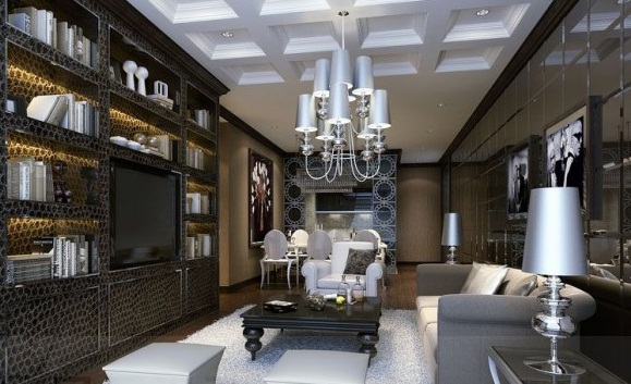 Glamorous Living Room Shelving Storage Chandelier Modern Living Rooms
