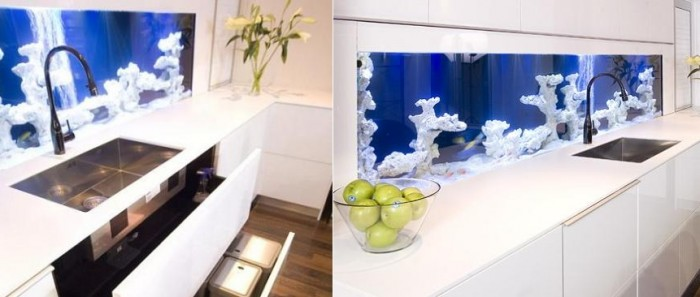 Glass Aquarium Backsplash Kitchen Backsplash Ideas