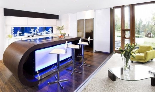 Glass Aquarium Backsplash Modern Kitchen Backsplash Ideas