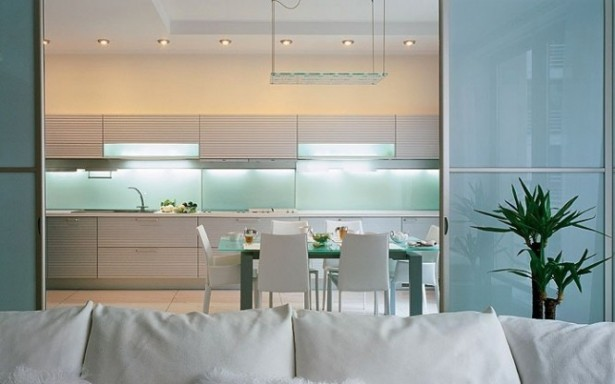 Glass Backsplash Blue Sliding Door Artistic Interior Renders