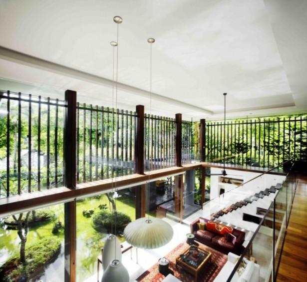 Glass Balustrade Unique Lamp Wooden Floor Serene Sun House