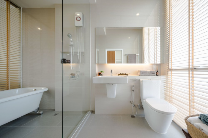 Glass Door Bathroom Modern Townhome Design White Bath