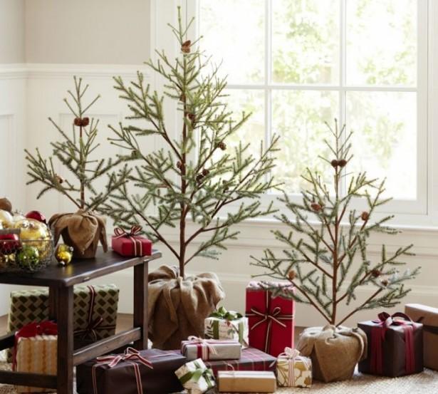 Glass Window Minimalist Christmas Trees Indoor Decor Ideas
