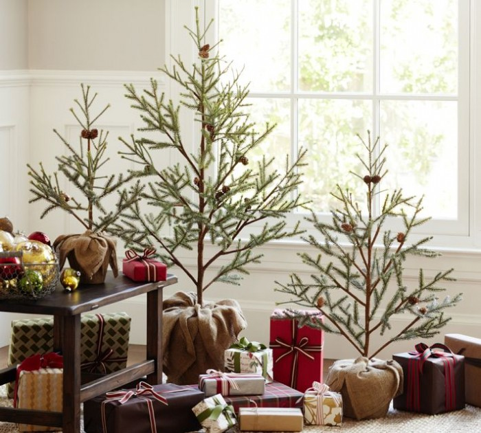 Glass Window Minimalist Christmas Trees Indoor Decor Ideas