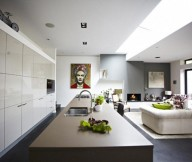 Glossy Cabinet Grey Floor Modern Victorian Home White Wall