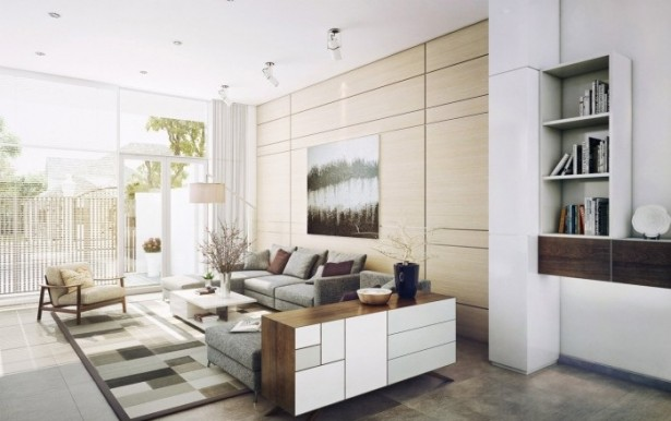 Graphic Area Rugs Contemporary Living Rooms White Bookshleves