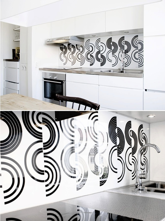 Graphic Backsplash White And Black