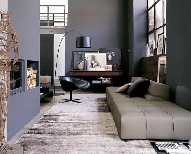 Gray Black Living Room Modern Sofa Ideas Grey Theme