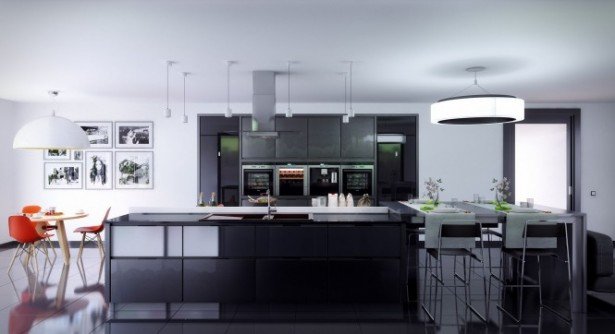 Gray Kitchen Units Black Cabinet Modern Kitchens Ideas