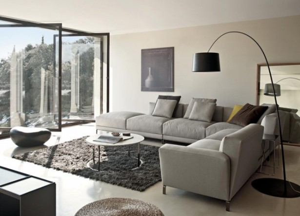 Gray Sectional Sofa Modern Sofa Ideas Glass Wall