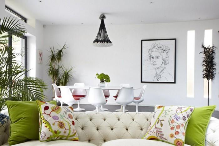 Green Pillow Modern Victorian Home White Wall Ideas
