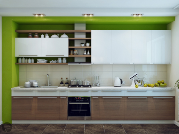 Green White Wood Kitchen Modern Kitchens Ideas Modern White Cabinet