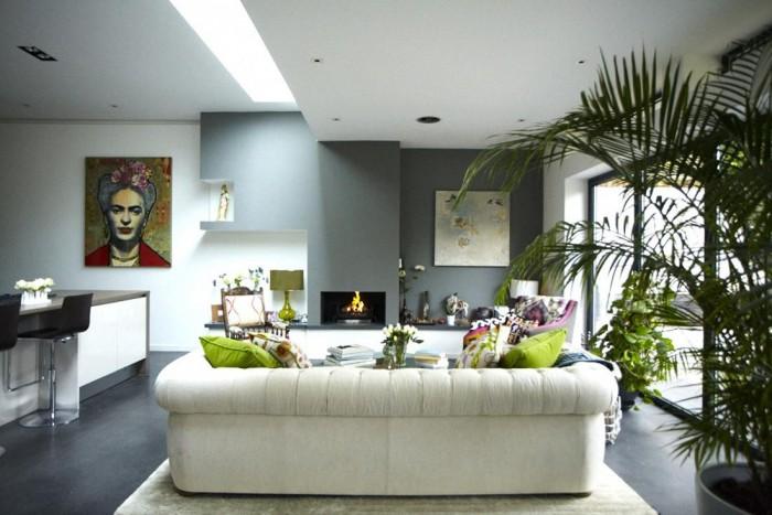 Grey Floor White Living Room Modern Victorian Home
