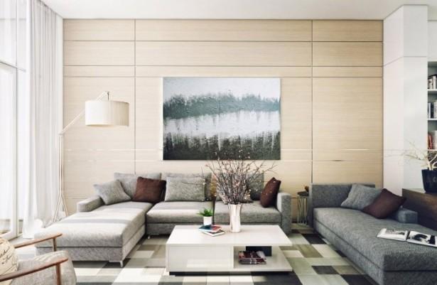 Grey Sofa Creame Wall Contemporary Living Rooms