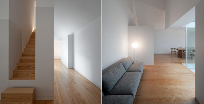 House With The Simplest Of Forms Interior Grey Long Sofas