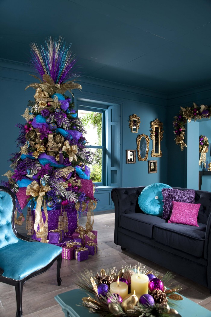 Indoor Decor Colorful Christmas Tree Grey Sofa