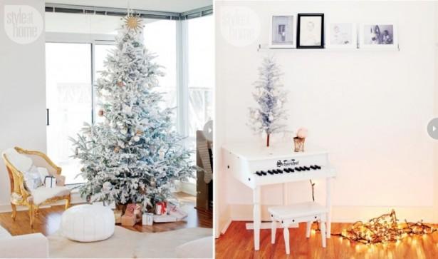 Indoor Decor Ideas Flocked Christmas Trees Wooden Floor