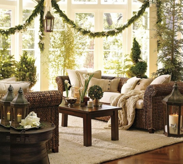Indoor Decor Ideas Natural Christmas Decorations White Rug
