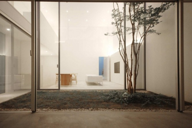Internal Courtyard Minimalist Glass Wall Courtyards Design Ideas