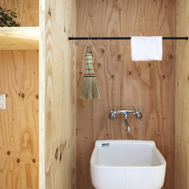 Japanese Minimalism Design  For Timber Bathroom White Sink