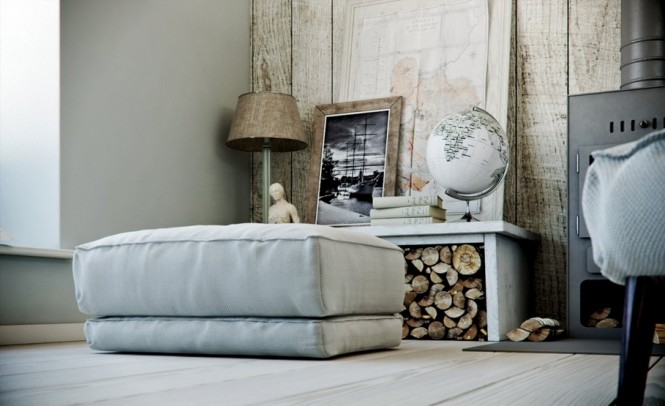 Light Gray Footstool Wooden Wall Warmth In Subtle Tones