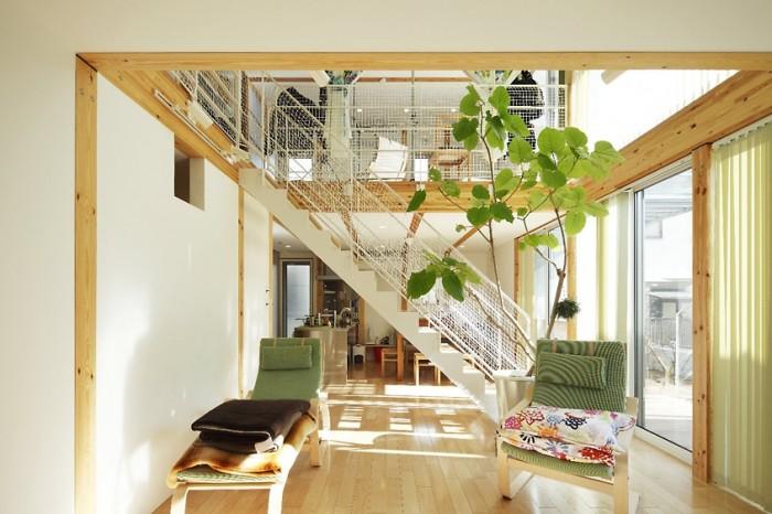 Light Wood Flooring Japanese Style Interior Design Glass Door