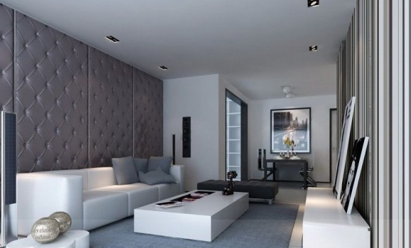 Living Room Contemporary Padded Feature Wall Modern Living Rooms