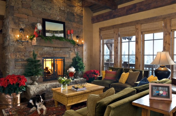 Lodge Christmas Mantel Decor Mantel Decor Inspiration Stone Wall