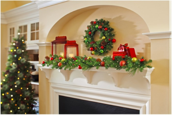 Mantel Decor Inspirationtraditional Christmas Mantel Decor Creame Wall