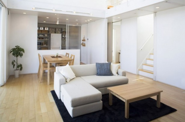 Minimalist Japanese Prefab Chaise Lounge Sofa Black Rug