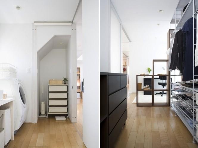 Minimalist Japanese Prefab For Utility Room Wooden Floor