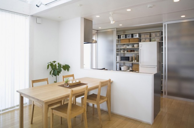 Minimalist Japanese Prefab Neutral Kitchen Diner Semi Transparent Cabinet